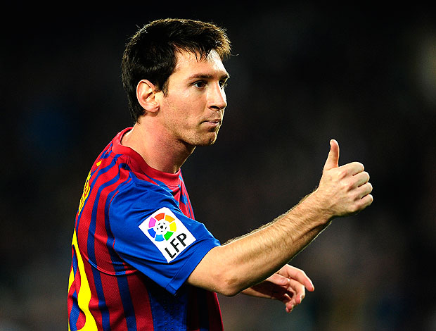 Messi comemora gol do Barcelona contra o Mallorca (Foto: AP)