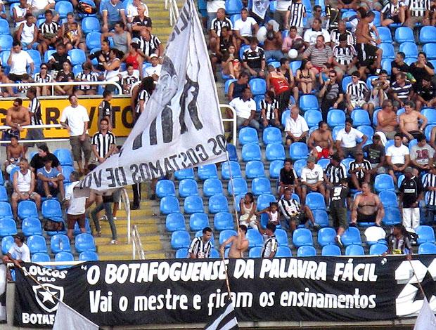 torcida do Botafogo com faixa para Luiz Mendes (Foto: Fábio Leme / Globoesporte.com)