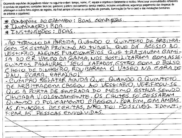súmula vasco x são paulo (Foto: Reprodução)