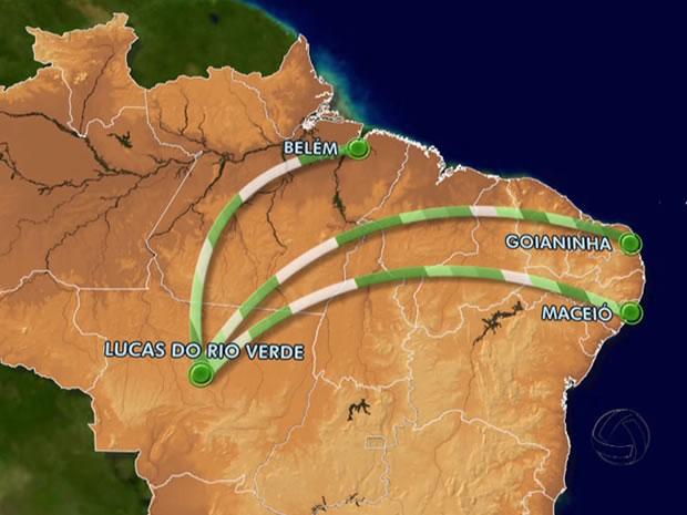 Para disputar Série C e Copa MT, Luverdense vai percorrer 17 mil km (Foto: Arte/TVCA)