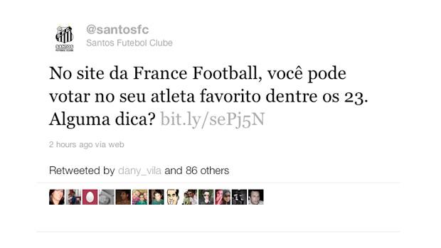 Print Twitter do Santos (Foto: Reprodução/Twitter do Santos)