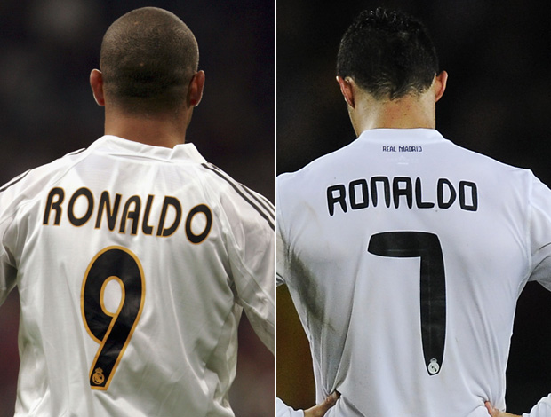 Montagem - Ronaldo e Cristiano Ronaldo no Real Madrid (Foto: Getty Images)