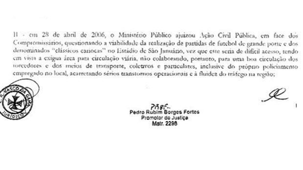 documento CBF Vasco TAC (Foto: Reprodução)
