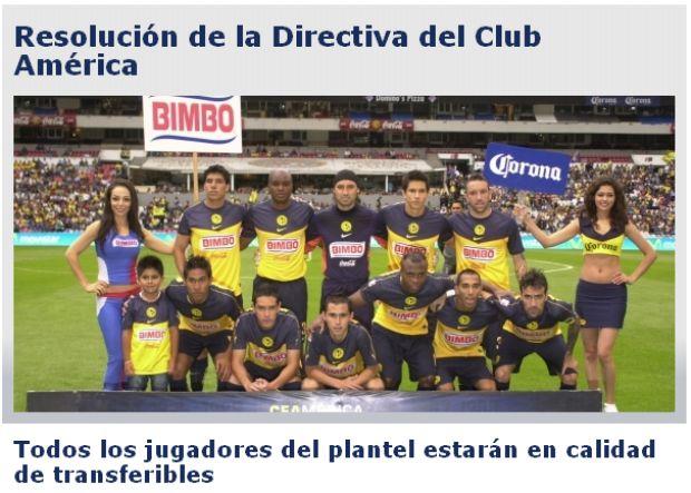 América do México põe time inteiro à venda (Foto: Reprodução)