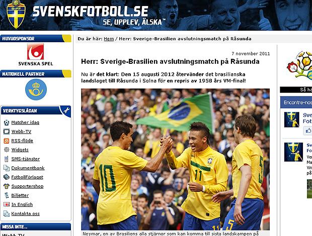 Print - Federação sueca anuncia amistoso com o Brasil (Foto: Reprodução)