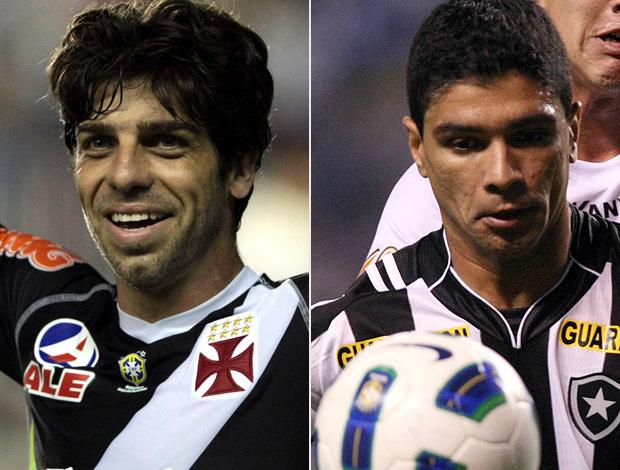 Montagem - Juninho Pernambucano e Renato, Vasco x Botafogo (Foto: Editoria de Arte/Globoesporte.com)
