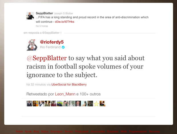 Reprodução Twitter - Rio Ferdinand blatter racismo no futebol (Foto: Reprodução Twitter)