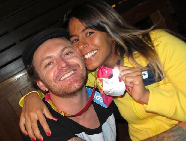 Parapan - Natação - Letícia Lucas com o namorado (Foto: Arquivo Pessoal)