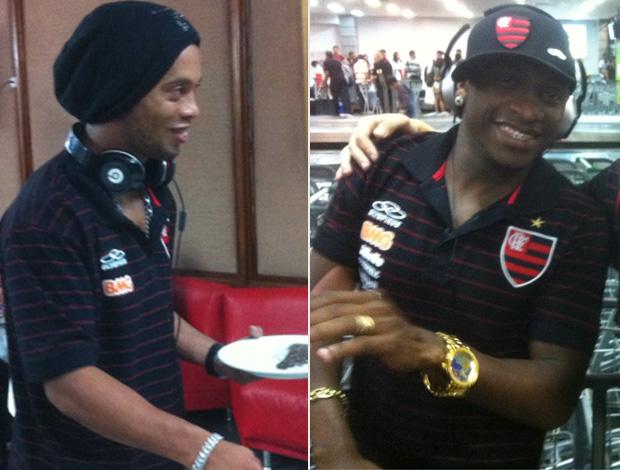 Montagem - Ronaldinho e Willians uniforme patrocinios Flamengo (Foto: Divulgação/Twitter)