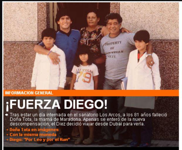 Olé - morte da mãe de Maradona (Foto: Reprodução/Olé)