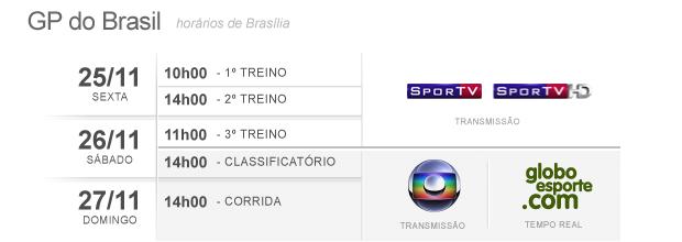 F-1: Horário GP Brasil (Foto: Editoria de Arte / GLOBOESPORTE.COM)