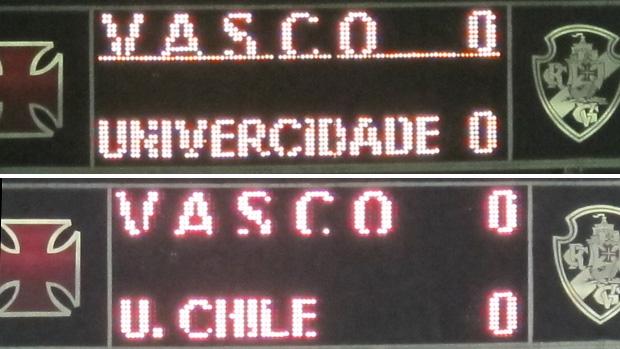 Placar de São Januario - Vasco x Universidad de Chile (Foto: Gustavo Rotstein / Globoesporte.com)