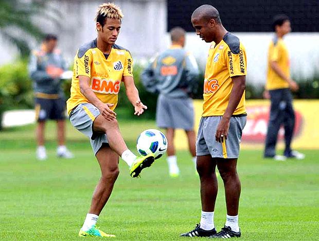 Neymar e Borges no treino do Santos (Foto: Ricardo Saibun / Site Oficial do Santos)