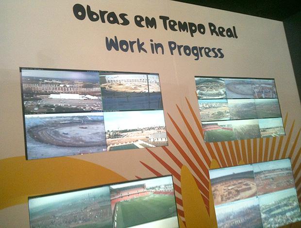Painel em tempo real das obras dos estádio da Copa do Mundo (Foto: Fellippe Costa/GLOBOESPORTE.COM)