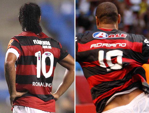 Montagem - Ronaldinho e Adriano, Camisa 10 (Foto: Agência O Globo)