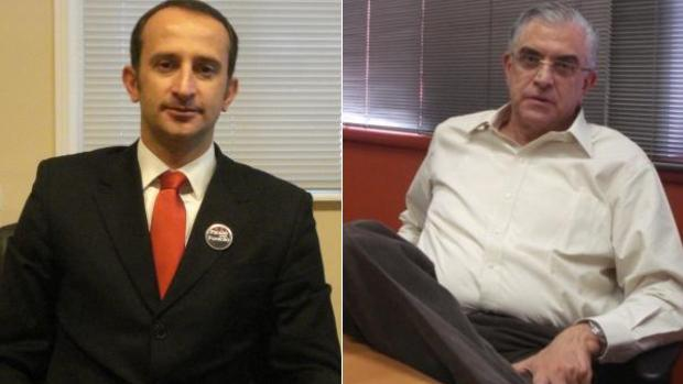 Diogo Fadel e Mario Celso Petraglia, candidatos à presidência do Atlético-PR (Foto: Fernando Freire/GLOBOESPORTE.COM)
