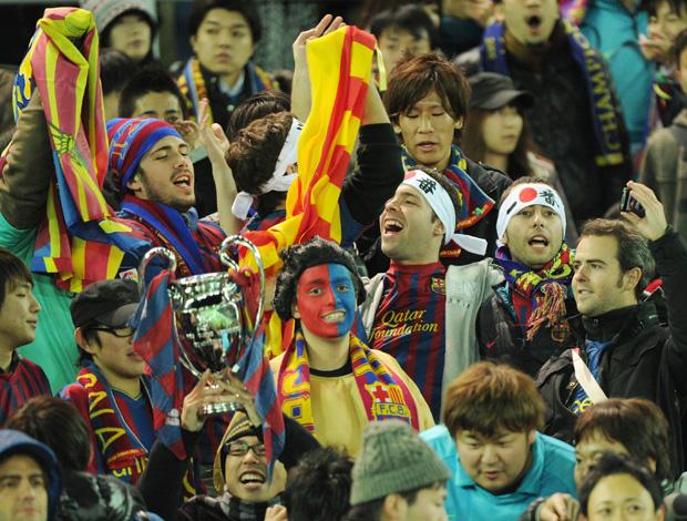 Torcida do Barcelona em Yokohama (Foto: EFE)