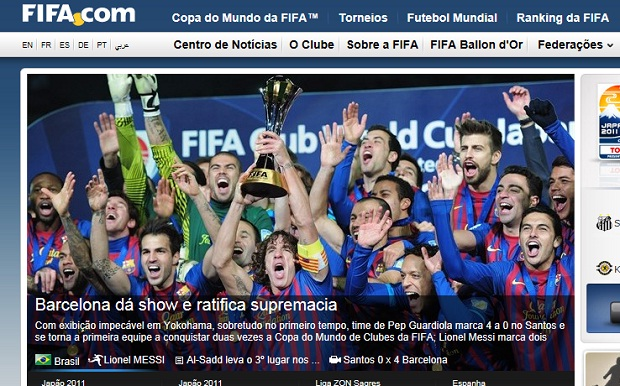 Site da Fifa destaca triunfo do Barcelona no Mundial (Foto: Reprodução)