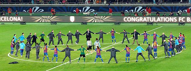 Barcelona comemora título Mundial (Foto: AP)