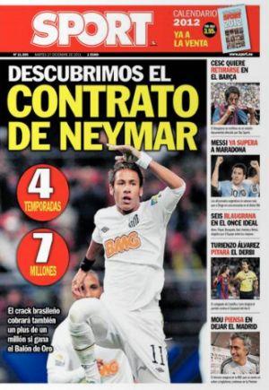 Capa do 'Sport' com os detalhes do contrato de Neymar com o Barcelona (Foto: Reprodução)