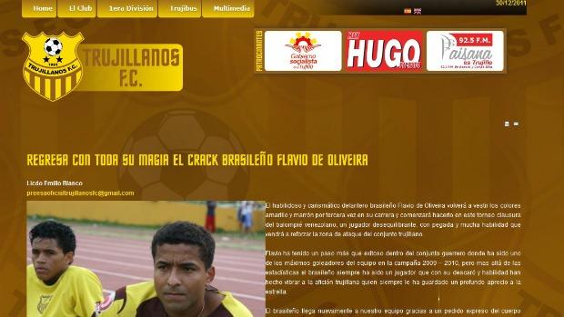 Site oficial do Trujillanos confirma a volta de Flávio (Foto: Reprodução/Site Oficial do Trujillanos FC)