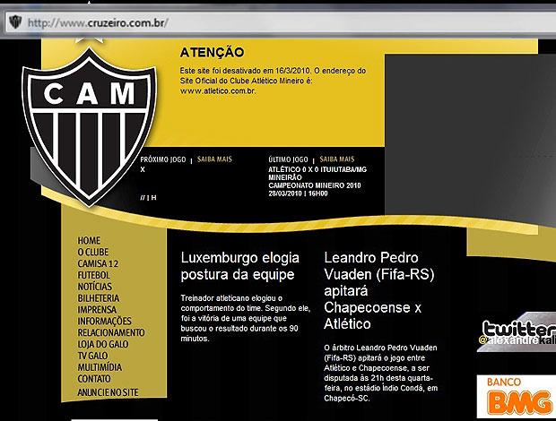 página do Cruzeiro hackeada  (Foto: Reprodução)
