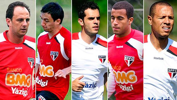 montagem são paulo Rogério Ceni, Piris, Rhodolfo, Lucas  Luis Fabiano  (Foto: Editoria de Arte/Globoesporte.com)