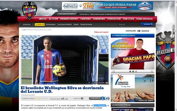 Site oficial do Levante anuncia que Wellington Silva não é mais jogador do clube (Foto: Reprodução)