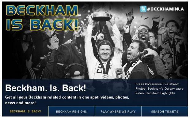 Site do Los Angeles Galaxy comemora renovação de Beckham (Foto: Reprodução)