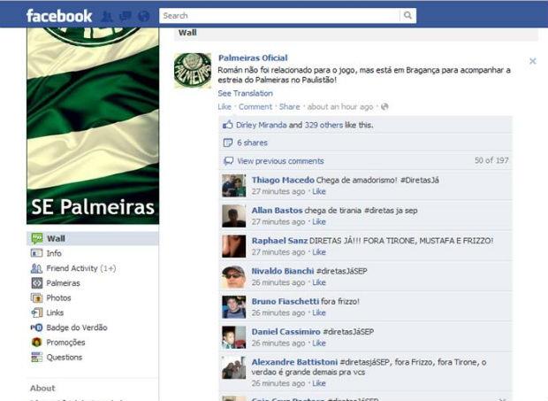 Torcedores do Palmeiras fazem protesto na internet por eleições diretas no clube (Foto: reprodução)
