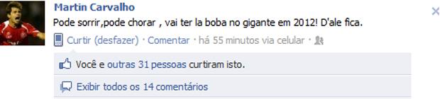 Print-screen do Facebook de Martin Carvalho (Foto: Reprodução)