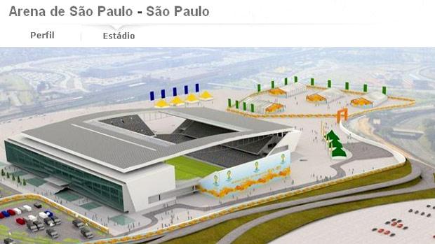 Site da Fifa batiza estádio do Corinthians de Arena de São Paulo (Foto: Divulgação / FIFA.com)