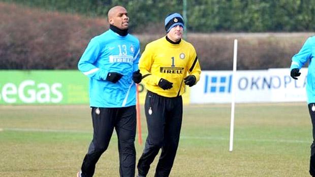 Maicon no treino do Inter de Milão (Foto: Divulgação / Site Oficial do Inter de Milão)