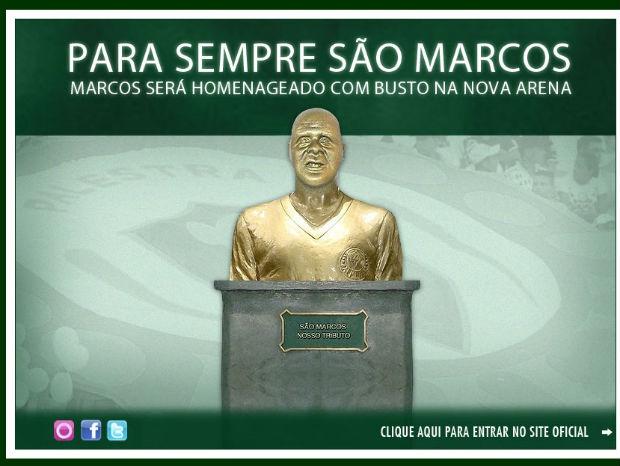 Imagem de como seria o busto do goleiro Marcos no site do Palmeiras (Foto: reprodução)