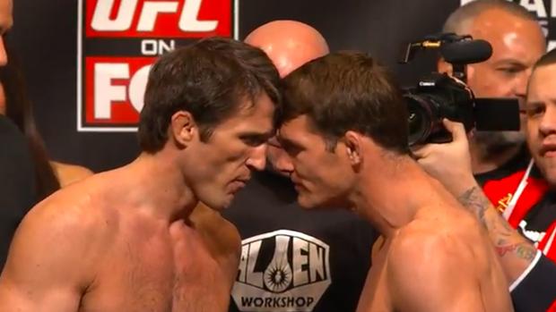 UFC pesagem Chael Sonnen encarada Michael Bisping MMA (Foto: Reprodução SporTV)