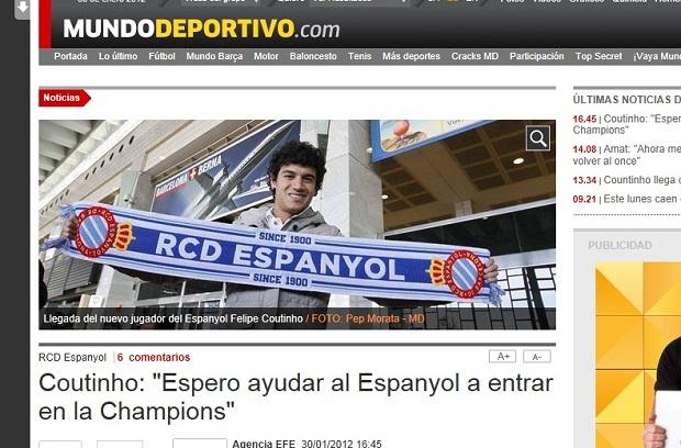 """Coutinho é destaque no site do jornal """"Mundo Deportivo"""" (Foto: Reprodução)"""