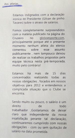 carta dos jogadores à imprensa