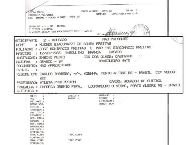 Boletim de Ocorr~encia de Kleber, do Grêmio (Foto: Reprodução)