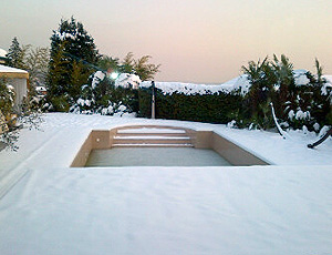piscina de Thiago Silva congelada (Foto: Divulgação / Arquivo Pessoal)