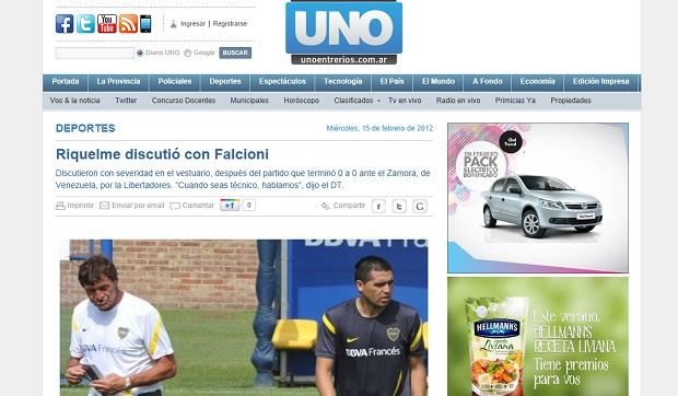 Riquelme teria brigado com técnico do Boca Juniors (Foto: Reprodução Unoentrerios)