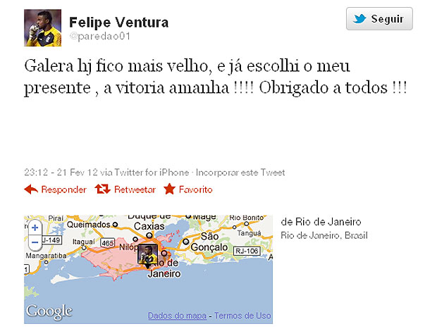 Felipe goleiro twitter aniversário (Foto: Reprodução / Twitter)