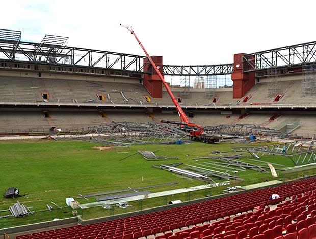 obras na Arena da Baixada para a Copa 2014 (Foto: Divulgação / Site Oficial)