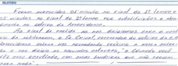 Súmula da partida entre Aparecidense e Itumbiara (Foto: Reprodução / FGF)