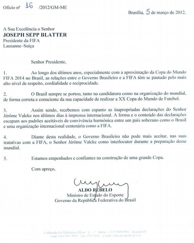 Carta do ministro Aldo Rebelo contra Jerome Valcke, da Fifa (Foto: Divulgação)