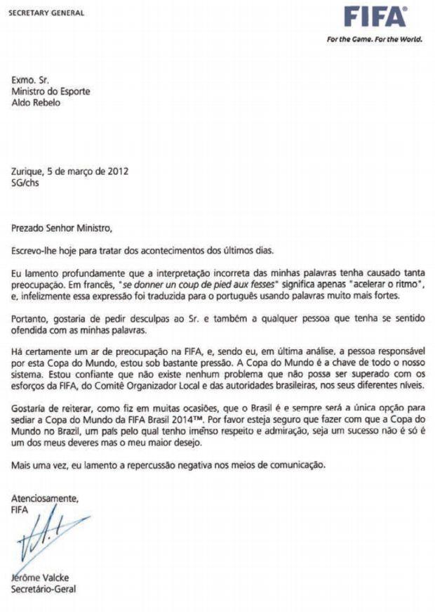 Carta de pedido de desculpa de Jérôme Valcke ao governo brasileiro (Foto: Divulgação)