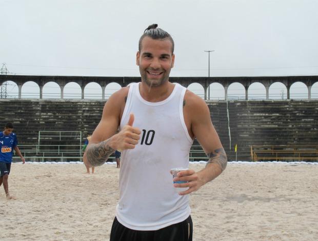 Atacante suíço Meier Copa Brasil futebol de areia (Foto: Igor Christ / Globoesporte.com)