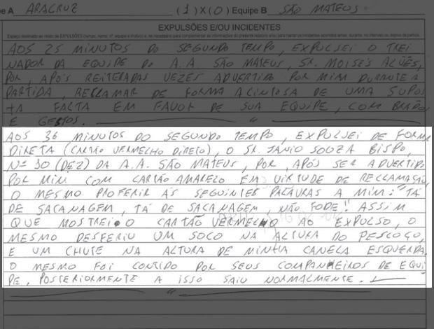 Punição - Jânio Baiano - São MAteus (Foto: Reprodução/FES)