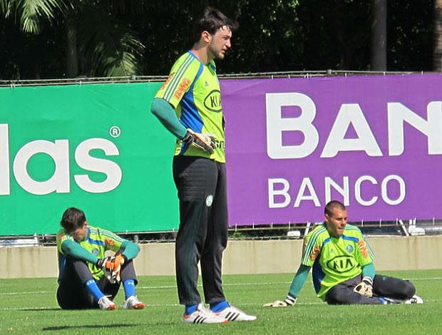 Fabio, Raphael e Deola no treino do Palmeiras (Foto: Daniel Romeu / Globoesporte.com)