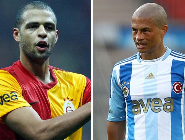 Felipe Melo do Galatasaray e o Alex do Fenerbahçe (Foto: Editoria de Arte / Globoesporte.com)