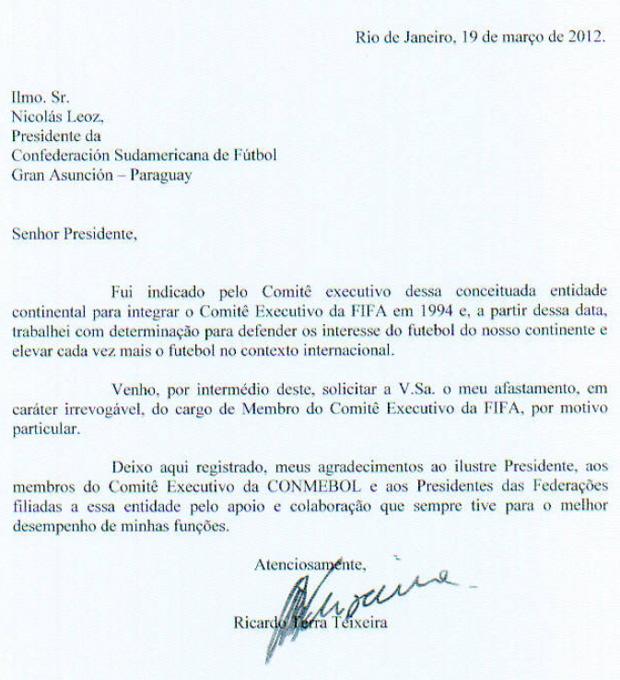 Ricardo Teixeira documento (Foto: Reprodução)